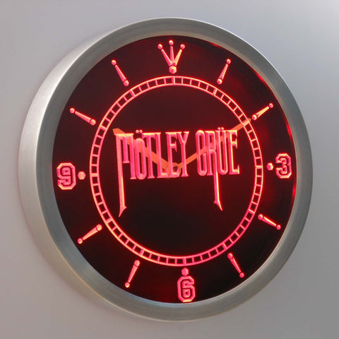 Image of Motley Crue LED Neon Wall Clock - Red - SafeSpecial