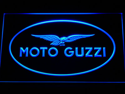 Moto Guzzi LED Neon Sign - Blue - SafeSpecial