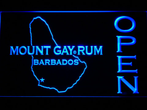 Image of Mount Gay Rum Barbados Open LED Neon Sign - Blue - SafeSpecial