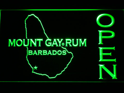 Image of Mount Gay Rum Barbados Open LED Neon Sign - Green - SafeSpecial