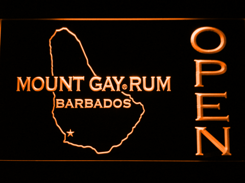 Image of Mount Gay Rum Barbados Open LED Neon Sign - Orange - SafeSpecial