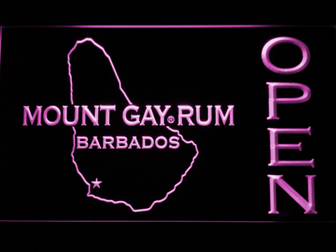 Image of Mount Gay Rum Barbados Open LED Neon Sign - Purple - SafeSpecial