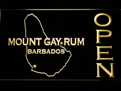 Mount Gay Rum Barbados Open LED Neon Sign - Yellow - SafeSpecial