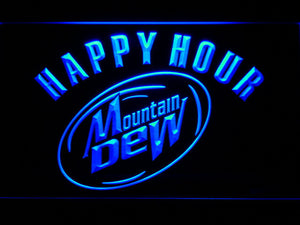 Mountain Dew Happy Hour LED Neon Sign - Blue - SafeSpecial