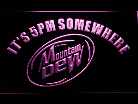 Image of Mountain Dew It's 5pm Somewhere LED Neon Sign - Purple - SafeSpecial