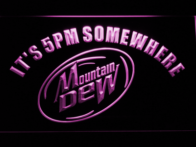 Mountain Dew It's 5pm Somewhere LED Neon Sign - Purple - SafeSpecial