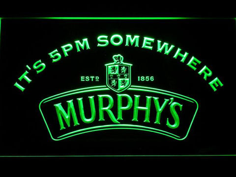 Murphy's It's 5pm Somewhere LED Neon Sign - Green - SafeSpecial