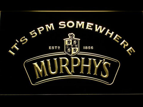 Murphy's It's 5pm Somewhere LED Neon Sign - Yellow - SafeSpecial