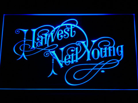 Neil Young Harvest LED Neon Sign - Blue - SafeSpecial