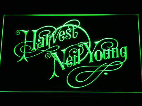 Neil Young Harvest LED Neon Sign - Green - SafeSpecial