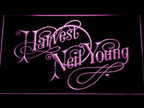 Neil Young Harvest LED Neon Sign - Purple - SafeSpecial