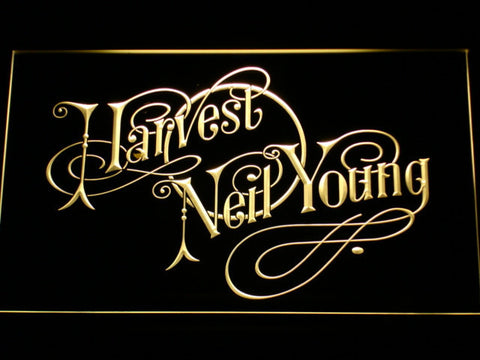 Neil Young Harvest LED Neon Sign - Yellow - SafeSpecial