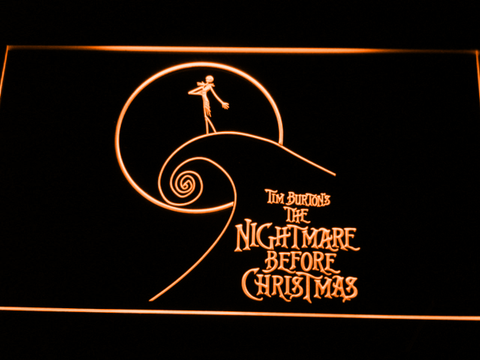 Image of Nightmare Before Christmas Cliff LED Neon Sign - Orange - SafeSpecial