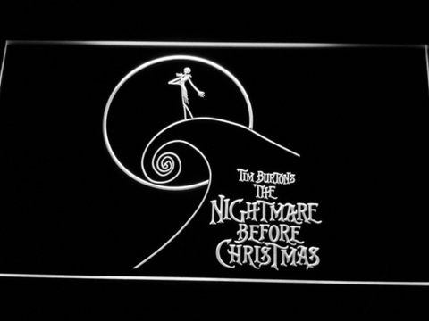 Image of Nightmare Before Christmas Cliff LED Neon Sign - White - SafeSpecial