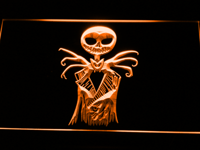Nightmare Before Christmas Jack Skellington LED Neon Sign - Orange - SafeSpecial
