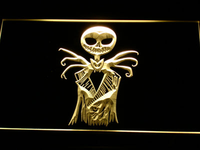 Nightmare Before Christmas Jack Skellington LED Neon Sign - Yellow - SafeSpecial