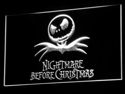 Nightmare Before Christmas LED Neon Sign - White - SafeSpecial