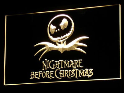 Nightmare Before Christmas LED Neon Sign - Yellow - SafeSpecial