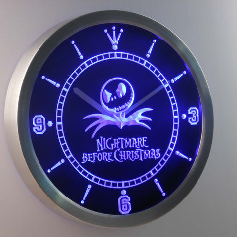 Image of Nightmare Before Christmas LED Neon Wall Clock - Blue - SafeSpecial
