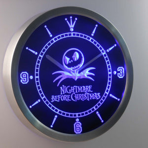 Nightmare Before Christmas LED Neon Wall Clock - Blue - SafeSpecial