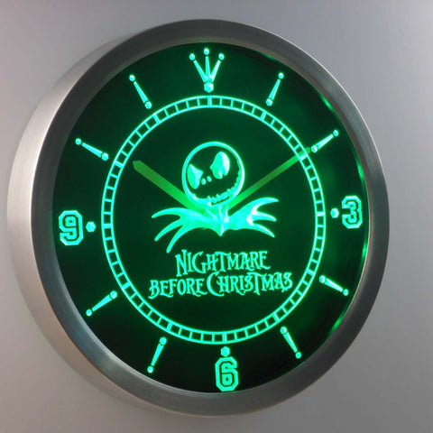 Image of Nightmare Before Christmas LED Neon Wall Clock - Green - SafeSpecial