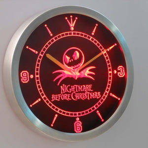 Nightmare Before Christmas LED Neon Wall Clock - Red - SafeSpecial