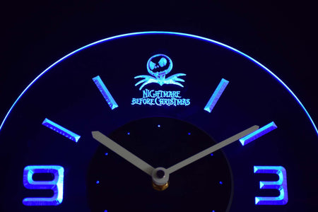 Nightmare Before Christmas Modern LED Neon Wall Clock - Blue - SafeSpecial