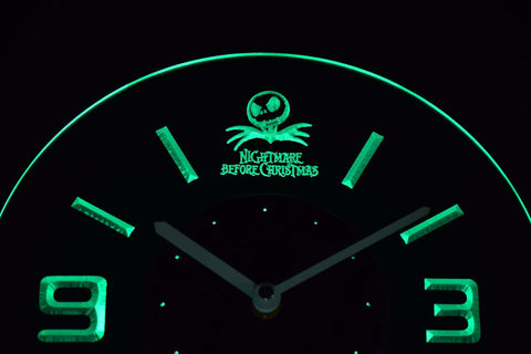Image of Nightmare Before Christmas Modern LED Neon Wall Clock - Green - SafeSpecial
