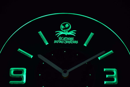 Nightmare Before Christmas Modern LED Neon Wall Clock - Green - SafeSpecial