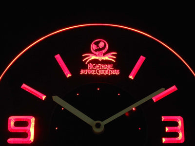 Nightmare Before Christmas Modern LED Neon Wall Clock - Red - SafeSpecial