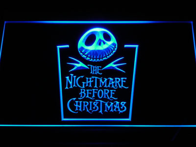 Nightmare Before Christmas Tombstone LED Neon Sign - Blue - SafeSpecial