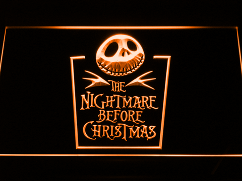 Image of Nightmare Before Christmas Tombstone LED Neon Sign - Orange - SafeSpecial