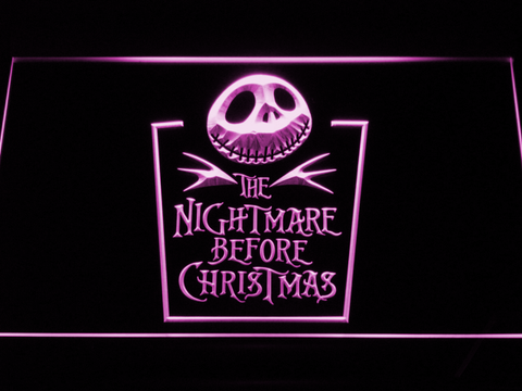 Image of Nightmare Before Christmas Tombstone LED Neon Sign - Purple - SafeSpecial