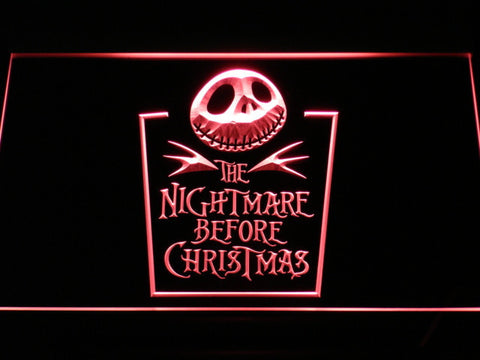 Image of Nightmare Before Christmas Tombstone LED Neon Sign - Red - SafeSpecial