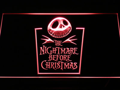 Nightmare Before Christmas Tombstone LED Neon Sign - Red - SafeSpecial