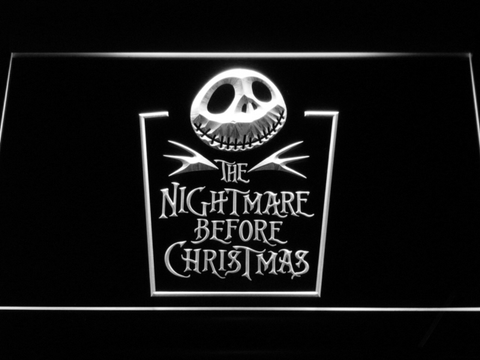 Image of Nightmare Before Christmas Tombstone LED Neon Sign - White - SafeSpecial