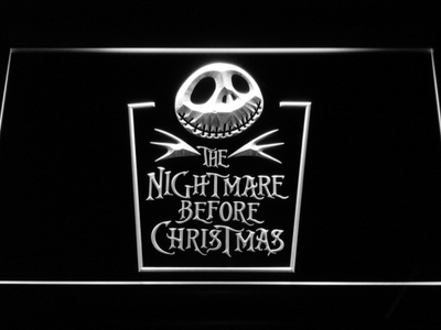 Nightmare Before Christmas Tombstone LED Neon Sign - White - SafeSpecial