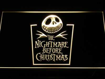 Nightmare Before Christmas Tombstone LED Neon Sign - Yellow - SafeSpecial