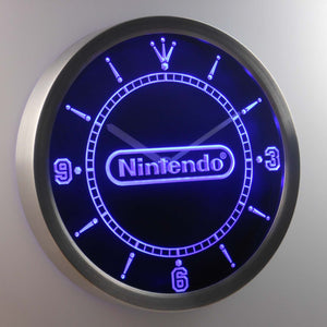 Nintendo LED Neon Wall Clock - Blue - SafeSpecial