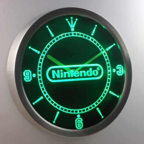 Image of Nintendo LED Neon Wall Clock - Green - SafeSpecial