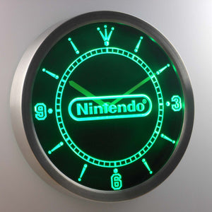 Nintendo LED Neon Wall Clock - Green - SafeSpecial