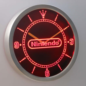 Nintendo LED Neon Wall Clock - Red - SafeSpecial