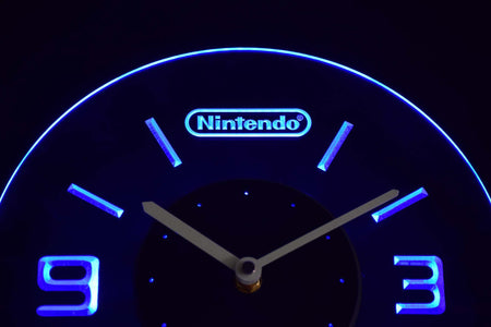 Nintendo Modern LED Neon Wall Clock - Blue - SafeSpecial