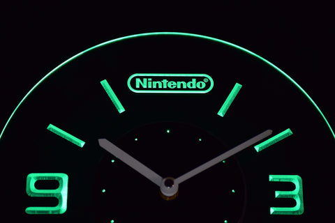 Image of Nintendo Modern LED Neon Wall Clock - Green - SafeSpecial