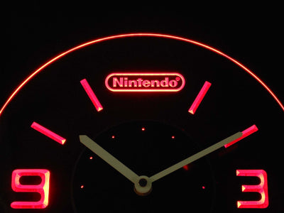 Nintendo Modern LED Neon Wall Clock - Red - SafeSpecial