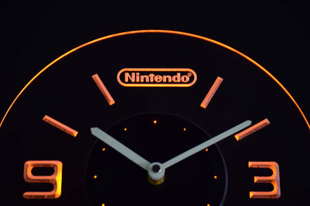 Nintendo Modern LED Neon Wall Clock - Yellow - SafeSpecial