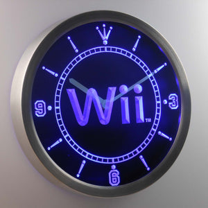 Nintendo Wii LED Neon Wall Clock - Blue - SafeSpecial