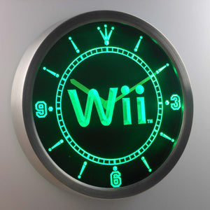 Nintendo Wii LED Neon Wall Clock - Green - SafeSpecial