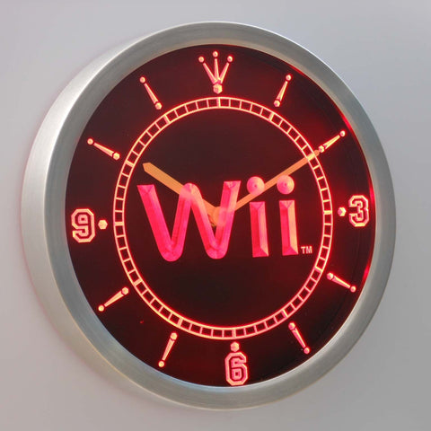 Image of Nintendo Wii LED Neon Wall Clock - Red - SafeSpecial