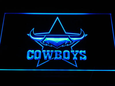 North Queensland Cowboys LED Neon Sign - Blue - SafeSpecial